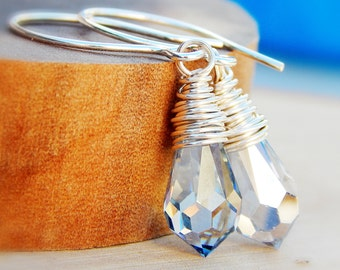 Blue Swarovski crystal earrings, wire wrapped briolettes