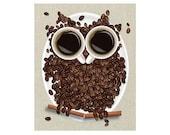 Coffee Art Print Coffee Owl Coffee Bean Art Coffee Decor Coffee Gift Coffee Home Decor Coffee Kitchen Decor Fun Kitchen Owl Decor