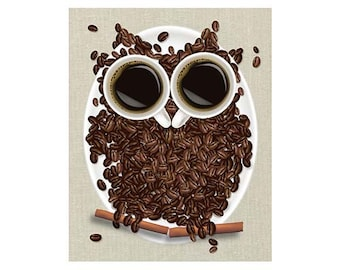 Coffee Art Print Coffee Owl Coffee Bean Art Coffee Decor Coffee Gift Coffee Home Decor Coffee