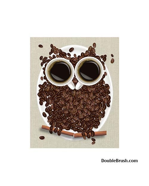 Coffee Art Print Coffee Owl Coffee Bean Art Coffee Decor