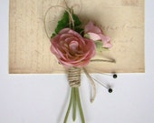 Wedding Boutonniere, Pink Ranunculus,Grooms Boutonniere, Groomsmen, Burlap, Outdoor Wedding, Garden, Country, Spring Wedding, Summer, Rustic