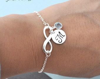 infinity Bracelet, initial birthstone Necklace, infinity necklace, everlasting lover,eternity, gift BFF, wedding, bridesmaid, monogram