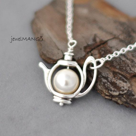 Silver Tea Pot - Alice in Wonderland collection, Cream Pearl Teapot Necklace, tea time necklace, teapot charm, swarovski pearl, big pearl