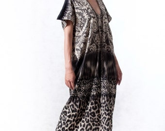 NO.117     Black and Beige Cotton Jersey Mixed Print Caftan, Baroque and Leopard Print Dress
