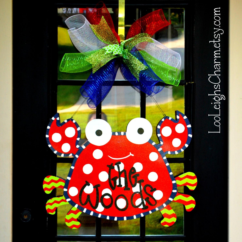 Front Door Decorations For Summer: Crab Door Hanger Crab Party Crab Wreath Beach Wreath For