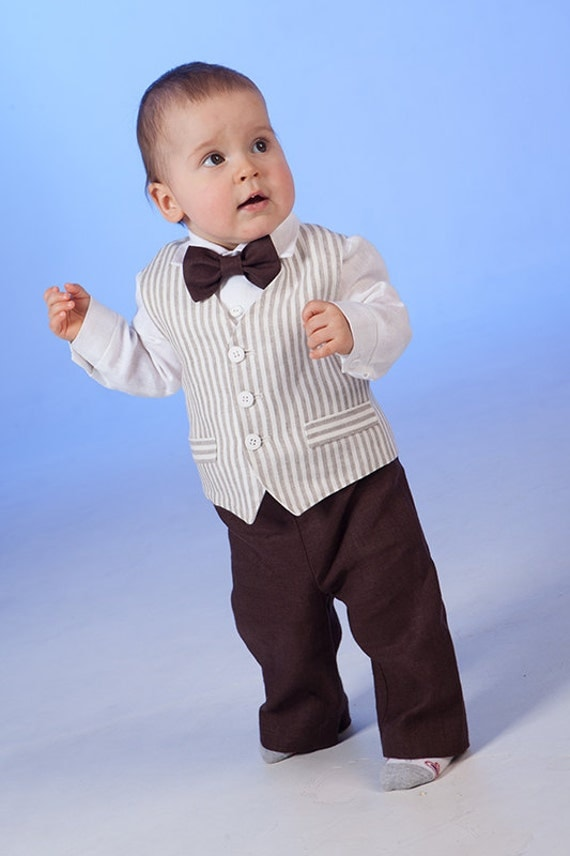 boy linen suit ring bearer outfit baby boy baptism natural. Black Bedroom Furniture Sets. Home Design Ideas
