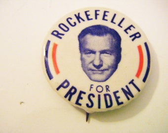 Nelson Rockefeller Vice President Of US Under Gerald Ford Government of New York Presidential Campaign Pinback