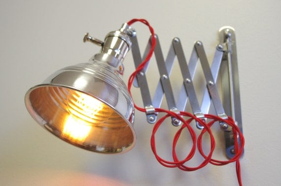 Wall Mounted Articulated Lamp : Industrial Scissor Articulating Wall Lamp Light Steampunk