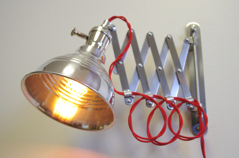 Wall Mounted Scissor Lamp : Industrial Scissor Articulating Wall Lamp Light Steampunk
