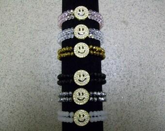 Smiley face crystal bracelet