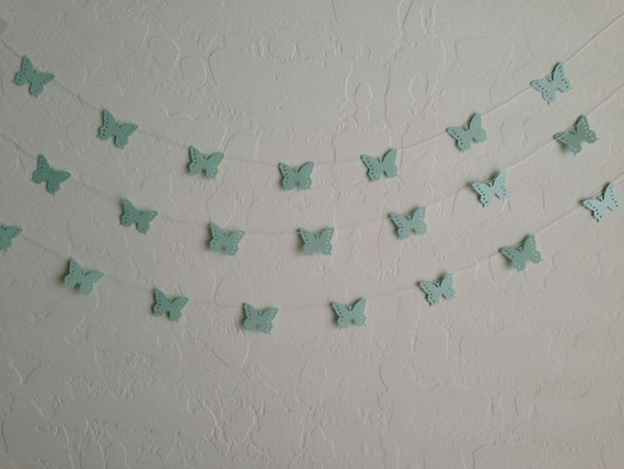 Mint Green Monarch Butterfly Garland/ Banner, Baby Shower Garland, Party Banner, Wedding Garland, Summer Party Garland