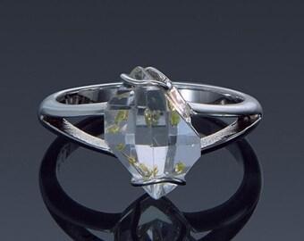Herkimer Diamond Ring, Engagement ring, Split Shank 925 Sterling Silver, 14K 18K Yellow White Gold Ring, Enhydro Quartz Gift Idea SKU1859