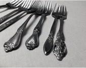 Vintage Mismatched Fancy Flatware Set of 8 Salad Forks