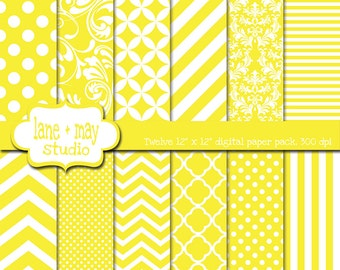 digital scrapbook papers - bright yellow and white patterns - variety pack - INSTANT DOWNLOAD