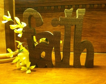"Inspirational wooden words ""FAITH"""