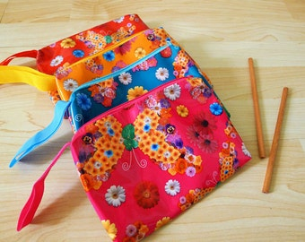 Large PVC zipper pencil case, cosmetic bag, snack bag,  rectangle shaped with strap, waterproof, collage flowers print, vivid, POP ART