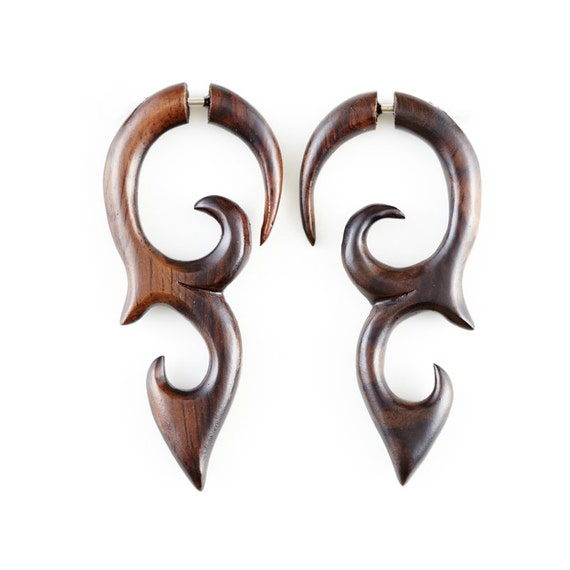 """Fake Gauge Earrings - Wood Earrings Fake Piercing - Wood Spiral Earrings """"Dayak Shields"""" Fake Gauges"""