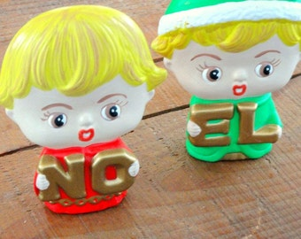 Vintage Holiday Decor, Ceramic Boy and Girl NOEL, Christmas