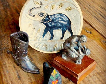 Vintage Metal Knick Knacks. Found Objects, Salvaged, Altered Mixed Media Art, Photo Displays