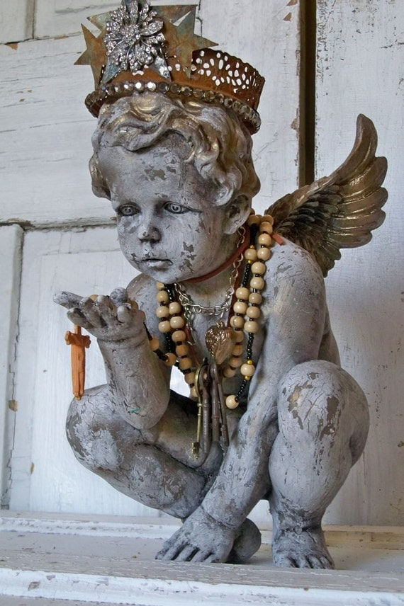 Cherub Statue Hand Made Crown Adorned With Jewelry French