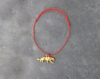 Red tiger cord bracelet / for men or women / charm bracelet