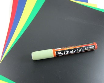 Chalkboard Paper Set - 5 Sheets of Chalk Paper in Black, Green, Red, Blue and Yellow
