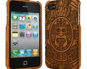 Aztec Calender - Wood iPhone 4/4S Case, Bamboo iPhone 4 case, iPhone 4S Case