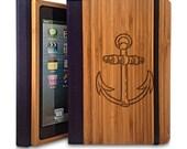 Anchor - Bamboo Wood iPad 2/3/4 Case, Wood iPad Case, iPad 2/3/4 Bookcase