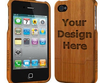 Personalised Bamboo Wood iPhone 4/4S Case (Email us your design for engraving)