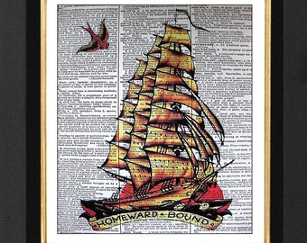 "Sailor Jerry ""Homeward Bound""- Bar Art, Bar Decor- Mixed Media art print on 8x10 Vintage Dictionary page, Dictionary art, Dictionary print"