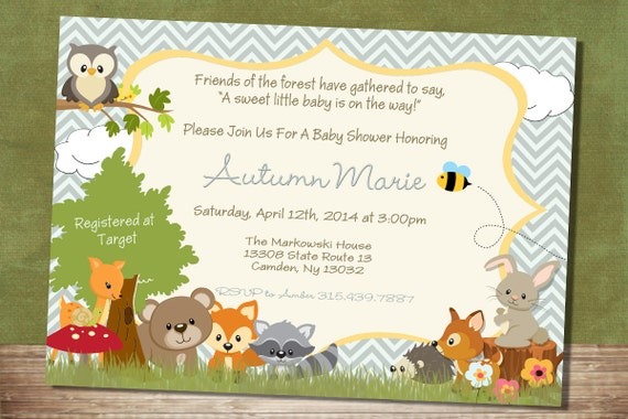 chevron forest themed baby shower invitation woodland baby, Baby shower