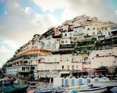 Positano Photograph - Amalfi Coast Photography - Italy Print - Positano Vista - Mountain Buildings - Vintage, Retro, Rustic