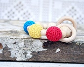 Baby teething toy Wooden beads crochet teether Natural Organic toy Wooden teether Red blue yellow rattle