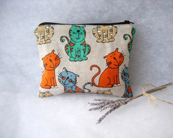 Linen Zipper Pouch with Cats - Makeup Bag or Medicine Case