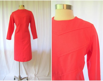 Vintage Dress | 1960s | Bright Pink A-line Dress by Sears Fashions | Large