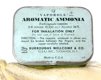Robin Egg Blue Aromatic Ammonia Vintage Tin