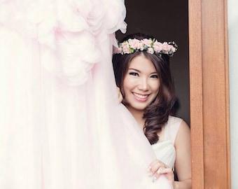 Wedding headband, flower wedding headband, pink flower wedding headband, roses wedding headband, bridal headpice, bridal flower headpiece
