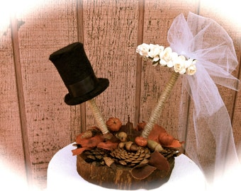 Fall Wedding Cake Topper With Pine Cones Pumkins