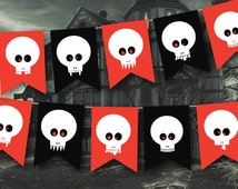 Skulls Pirate, Halloween Bunting Pirate Theme Party Decor, Birthday Bunting, Red white and Black, Vampire Skulls, Printable Garland, DIY
