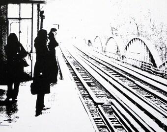 Paris - Metro, La Motte-Picquet - Grenelle Station (light) - limited edition screenprint