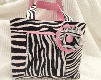Zebra Print Purse and Shabby Chic Flower Pin