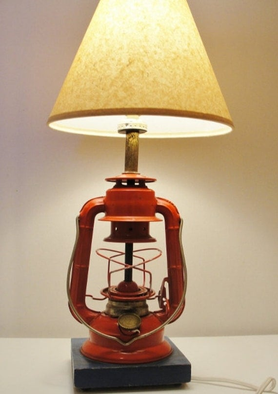 Antique Oil Lantern Made Into An Electric Table Lamp