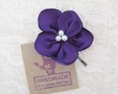 Purple Flower Hair Piece. Purple Flower Hair Pin. Wedding Accessory. Bridesmaid Hair Piece.