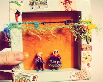 Festive Mexican Art Little People Stamps Shadow Box Wall Hanging - 'The Woman is Talking""