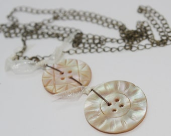 Handmade Antique Carved Mother of Pearl Buttons & Organza Bows Necklace