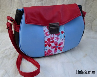 Handbag blue and red leather and fabric flowers
