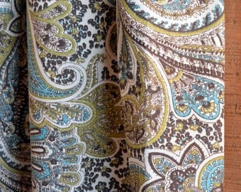 SUMMER SALE! Curtains, Window Treatments, Nursery Baby Room Decor, Curtain Panels, Paisley Chocolate Natural shown