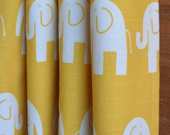 SUMMER SALE! Curtains, Nursery Baby Room Decor, Curtain Panels, Elephants Corn Yellow White shown, MORE Colors Available