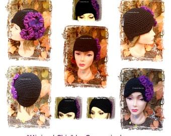 "Woman Hat ""Minimal chic"". Hyperbolic crochet hat. Worn in several ways: look 30 years or hypermodern"