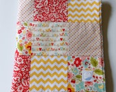 Minky Baby Girl Patchwork Blanket Quilt Riley Blake The Sweetest Thing Yellow Pink Red--Made to Order This Size Only - KristensCoverlets